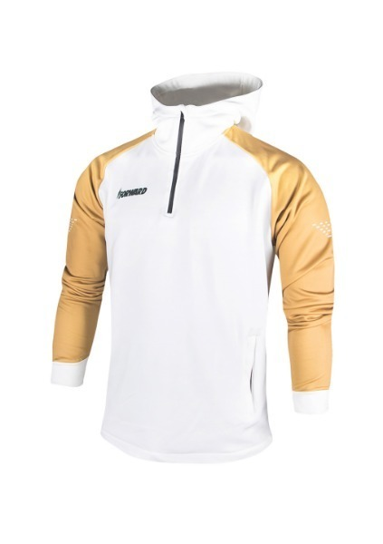 FLEECE ANTHEM HOODY HALF ZIP UP(WHITE/GOLD)